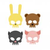 Cute animal skulls. Bear and pig. Head skeleton rabbit and cat. — Stock Vector