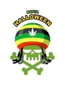Rasta Halloween Night. Skull addict with dreadlocks and bones. C — Stock Vector