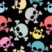 Skull with bones seamless pattern. Colored skull skeleton. Hallo — Stock Vector