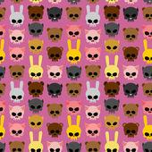Cute skulls of animals:  rabbit and cat, bear and pig. Seamless — Stock Vector