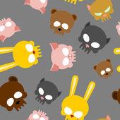 Child seamless pattern for Halloween. Skulls of baby animals. Ve — Stock Vector