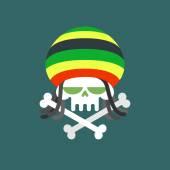 Rasta skull. Skull addict with dreadlocks and bones. Dead from d — Stock Vector