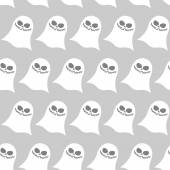 White funny ghost seamless pattern. Vector backgrounds for Hallo — Stock Vector