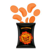 Halloween chips with pumpkin flavor. Snacks for dreaded holiday — Stock Vector