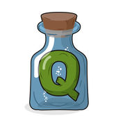 Q laboratory bottle. Letter in magical vessel with a wooden stop — ストックベクタ