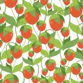 Fruity Strawberry texture. Vector seamless pattern of red berrie — Stok Vektör