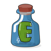 E in magic bottle. Letter in a bottle for laboratory and scienti — Stock Vector