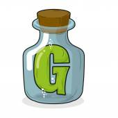 G in  bottle for scientific research. letter in a magical vessel — Stock Vector