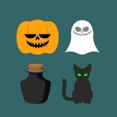 Set of icons for Halloween. Symbol dreaded holiday: Ghost and bl — Stock Vector