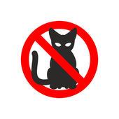 Stop cat. Vector sign No cats. Ban pet. Black cat silhouette. Si — Stock Vector