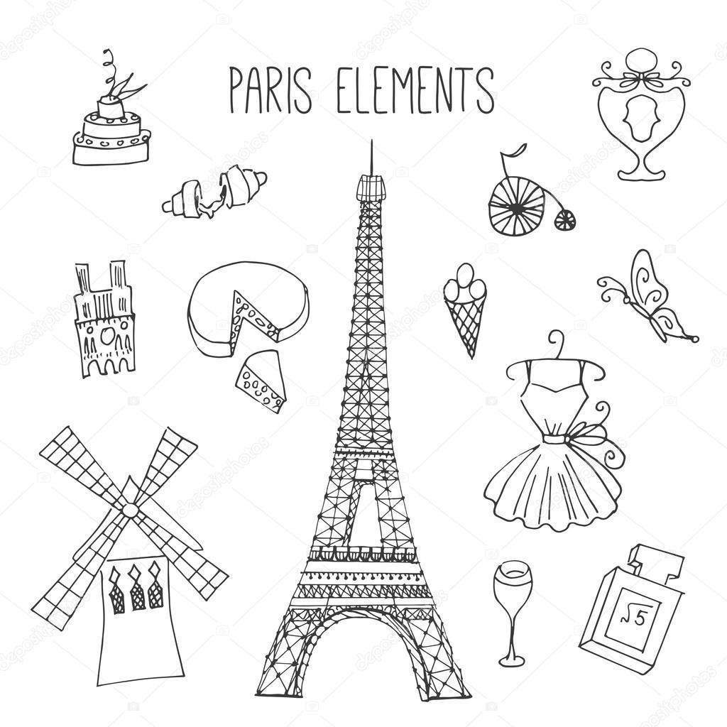 Paris Illustration: Paris Illustration. Hand Drawn France Elements. Doodle