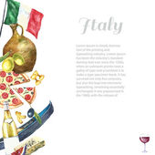 Set of Italy icons watercolor illustration. — Stock Vector