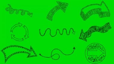 Skutečné animovaný film šipky na zelené obrazovce pozadí 4k — Stock video