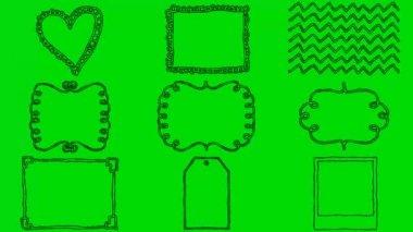 Skutečné animované kreslené obrazce na zelené obrazovce pozadí 4k — Stock video
