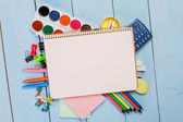 Group of school supplies — Stock Photo