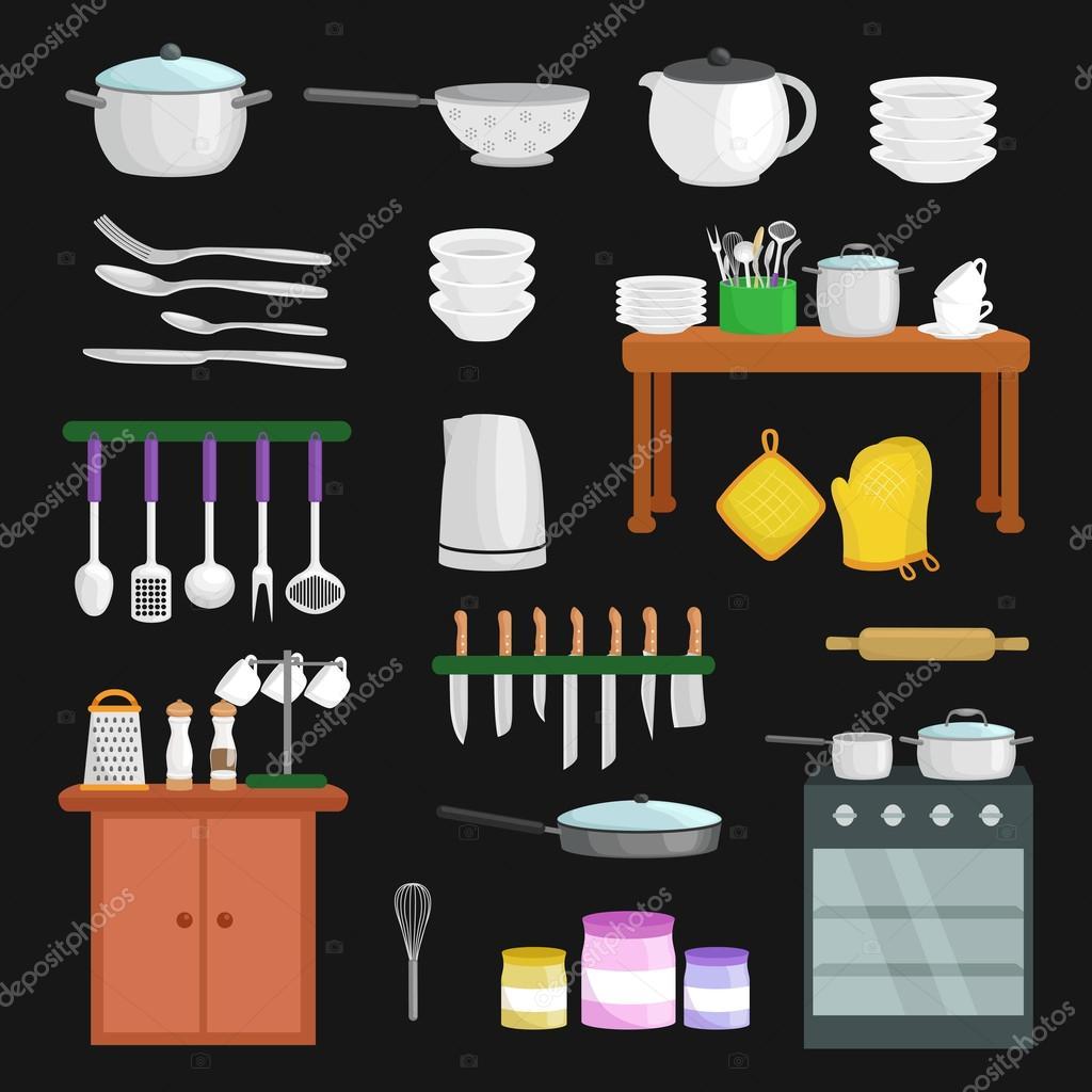 Los iconos de utensilios de cocina vector conjunto for Cucharones de cocina