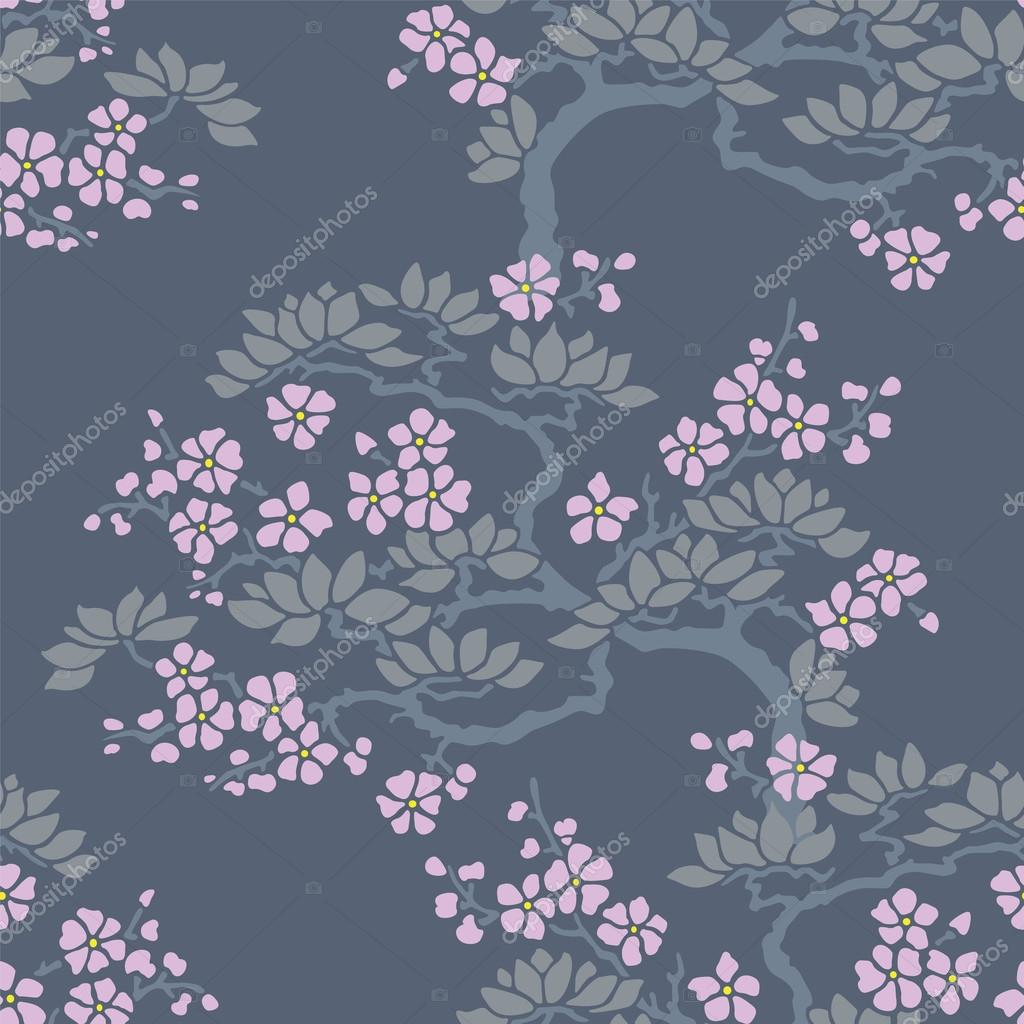 depositphotos 81880644 stock illustration seamless japanese plum blossom wallpaper - Japanse Bloesem Behang