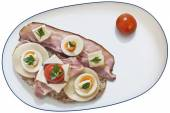 Bacon Rashers with Cherry Tomato and Bread Slice on Old Wooden Background — Stock Photo