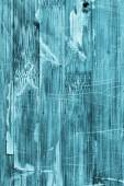 Old Wooden Laminated Panel Cyan Stained Varnished Cracked Scratched Peeled Grunge Texture — Stock Photo