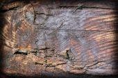 Old Square Timber Bollard Weathered Rotten Cracked Bituminous Vignette Grunge Surface Texture — Stock Photo