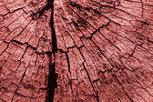 Old Timber Bollard Weathered Rotten Cracked Top Surface Stained Red Grunge Texture — Stock Photo
