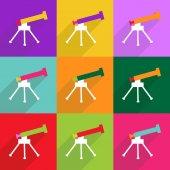 Web icons modern design for mobile shadow, Telescope — Stock Vector