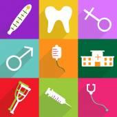 モバイル影の web アイコン モダンなデザイン アイコンを設定する医療 — ストックベクタ