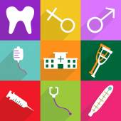 Iconos diseño moderno para sombra móvil, icono de sistema médico Web — Vector de stock
