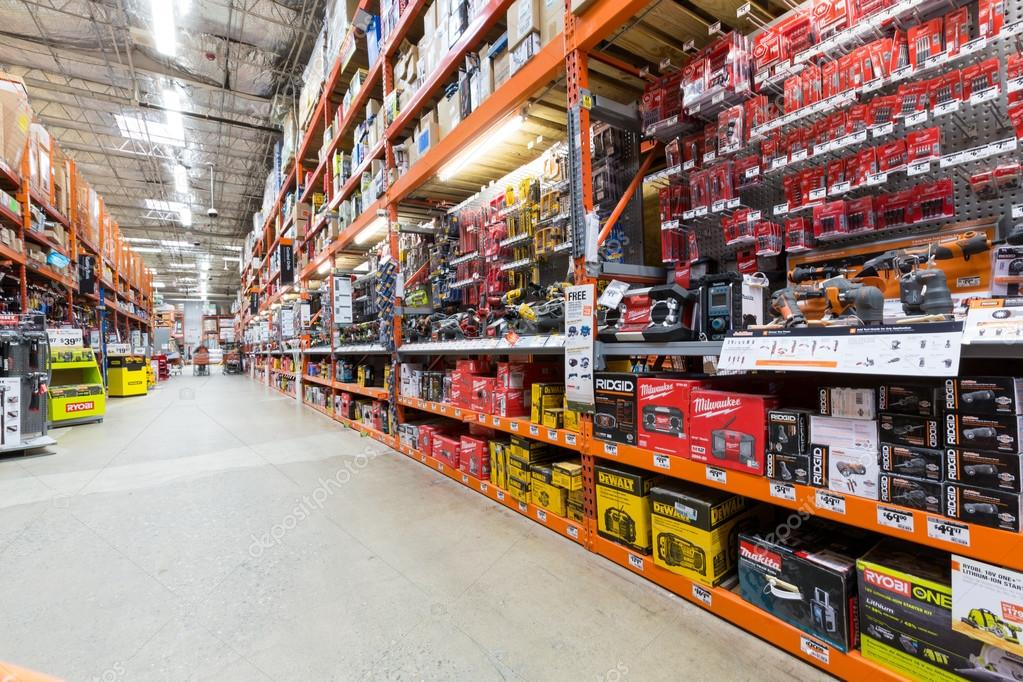 Power Tools Aisle In A Home Depot Hardware Store Stock