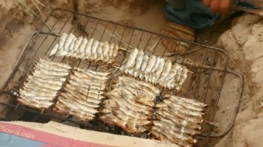 Grilling small fish on barbecue. — Stock Video