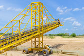 Mobile conveyor and Sand mining — Stock Photo