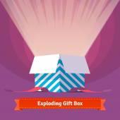 Exploding celebration gift box — Stock Vector