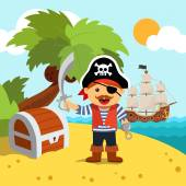 Pirate captain on island shore with treasure chest — Stock Vector