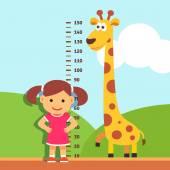 Girl kid measuring his height at kindergarten wall — Stock Vector