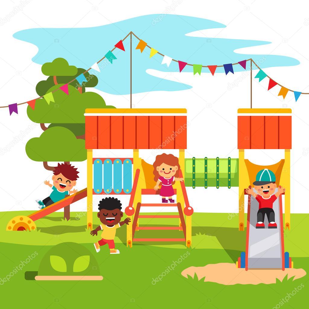 Diapositiva del patio del parque jard n de la infancia con for Casa de jardin ninos