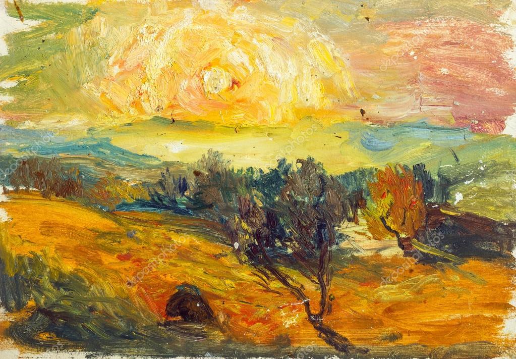 Фотообои Beautiful Original Oil Painting of autumn landscape On Canvas