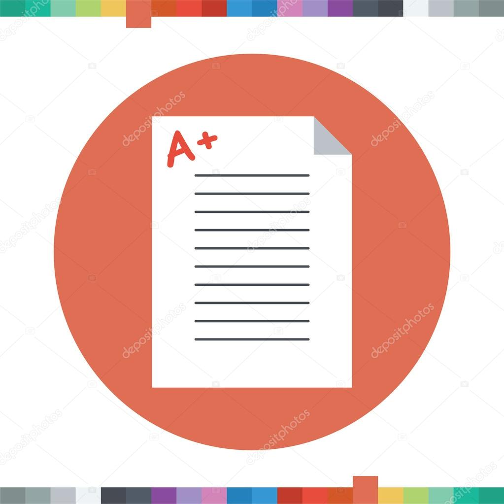 good grades icon a plus sign on an exam paper stock vector good grades icon a plus sign on an exam paper stock vector