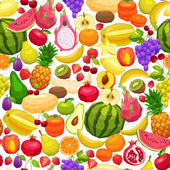 Seamless Pattern With Flat Fruits — Stock Vector