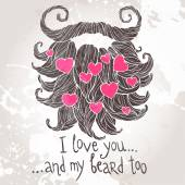 Hearts in the beards — Stock Vector