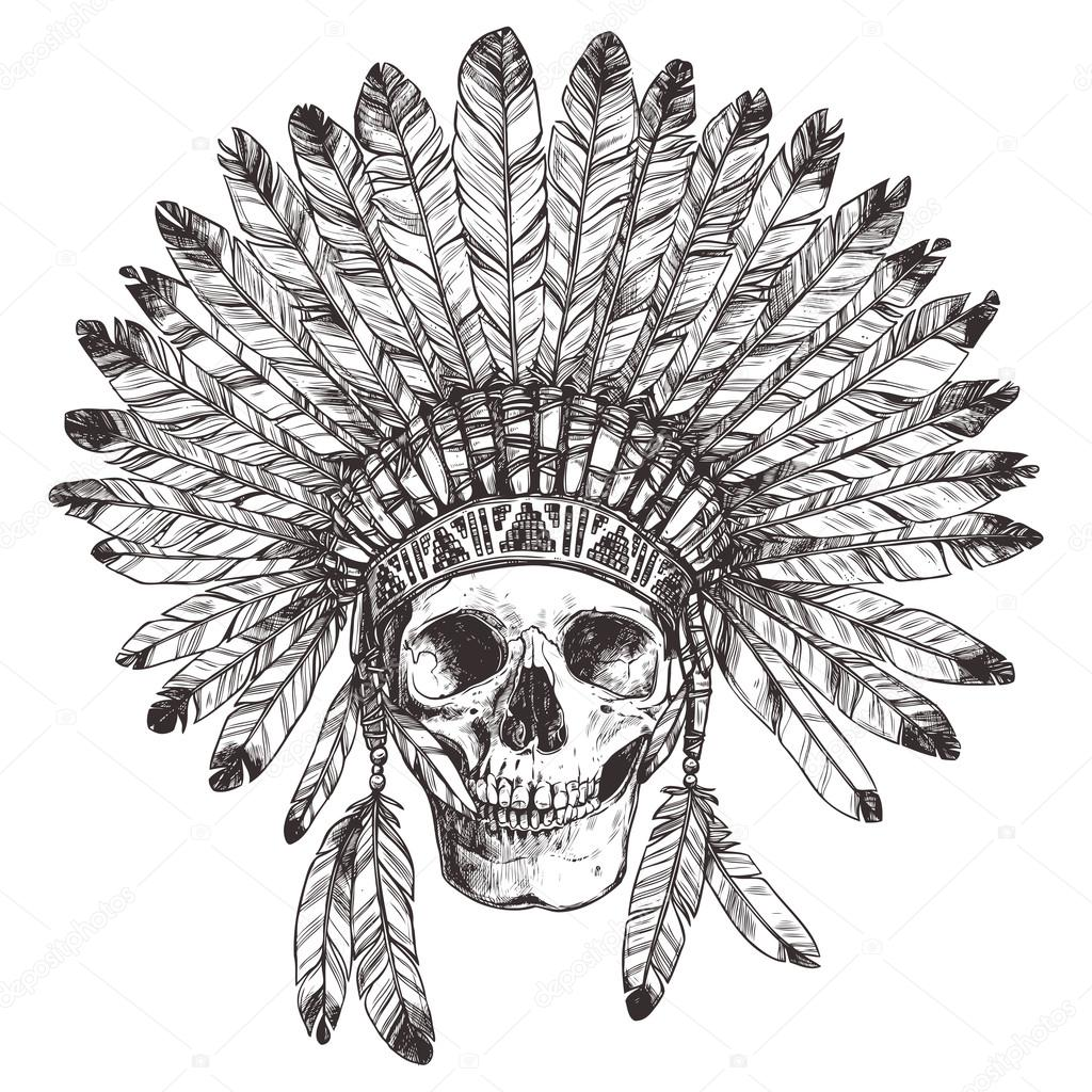 Native American Indian Headdress With Skull Image