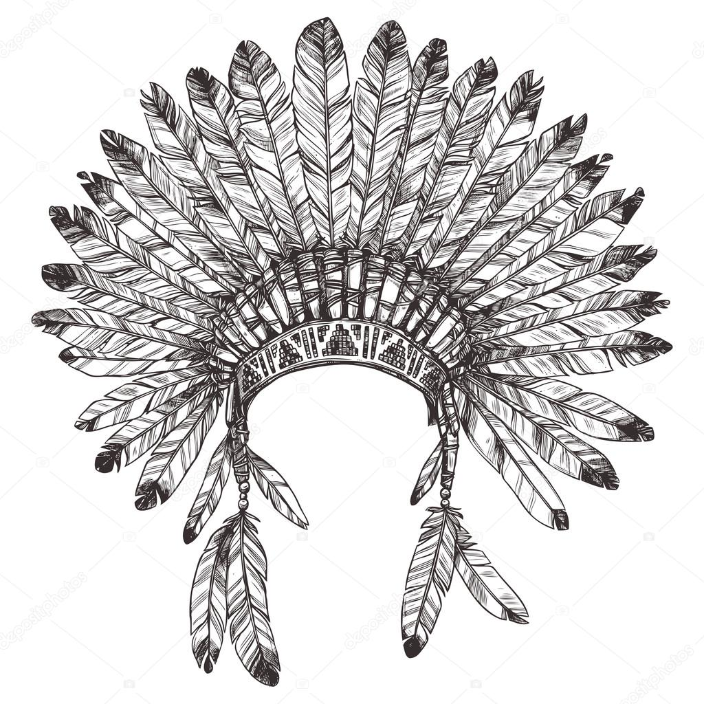 Tattoo native american headdress coloring coloring pages for Indian feathers coloring page