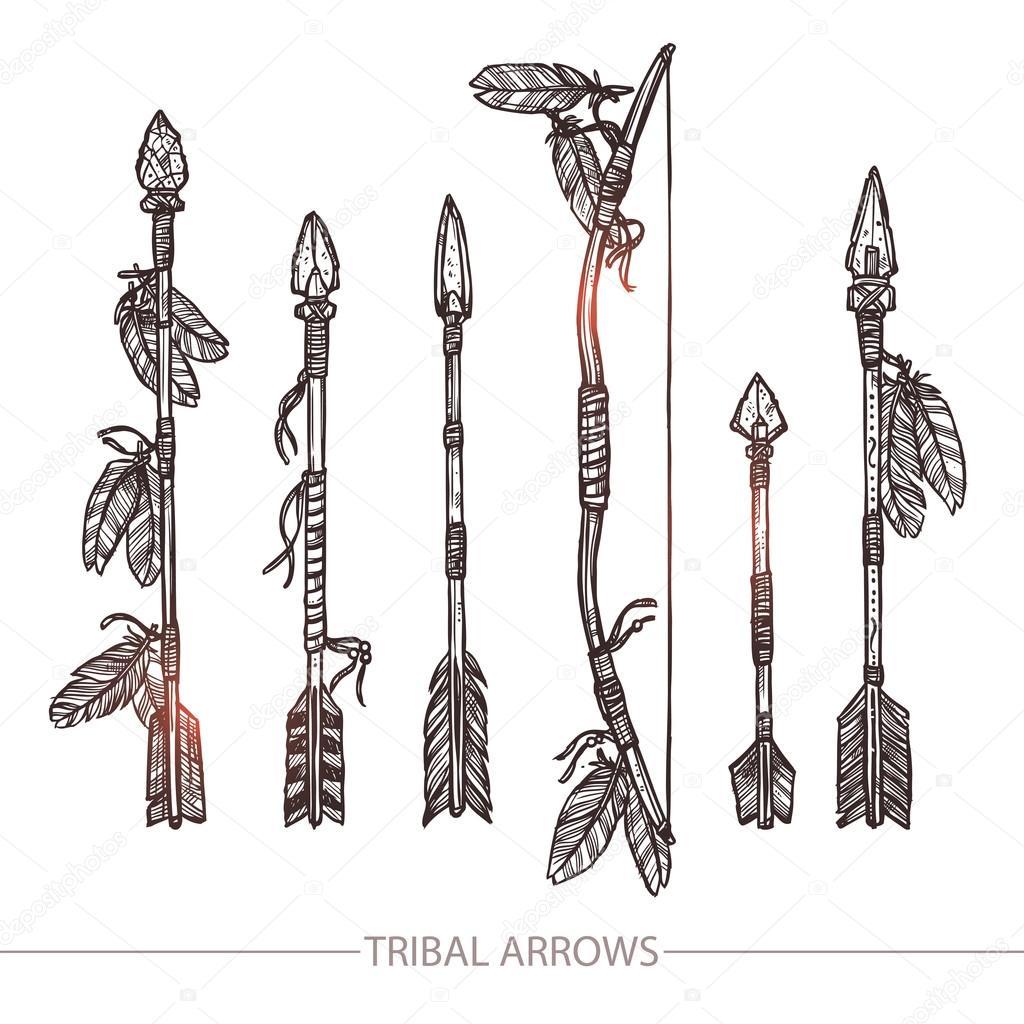 Descargar - Flechas de indio y un conjunto de arco — Ilustración de ...
