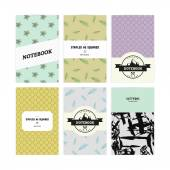 シダ、抽象的なテーマ、ベクトルの山の葉パターンで、ノートブック カバーのセット — ストックベクタ