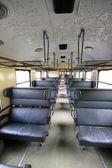 Old passenger railway car interior — Stock Photo