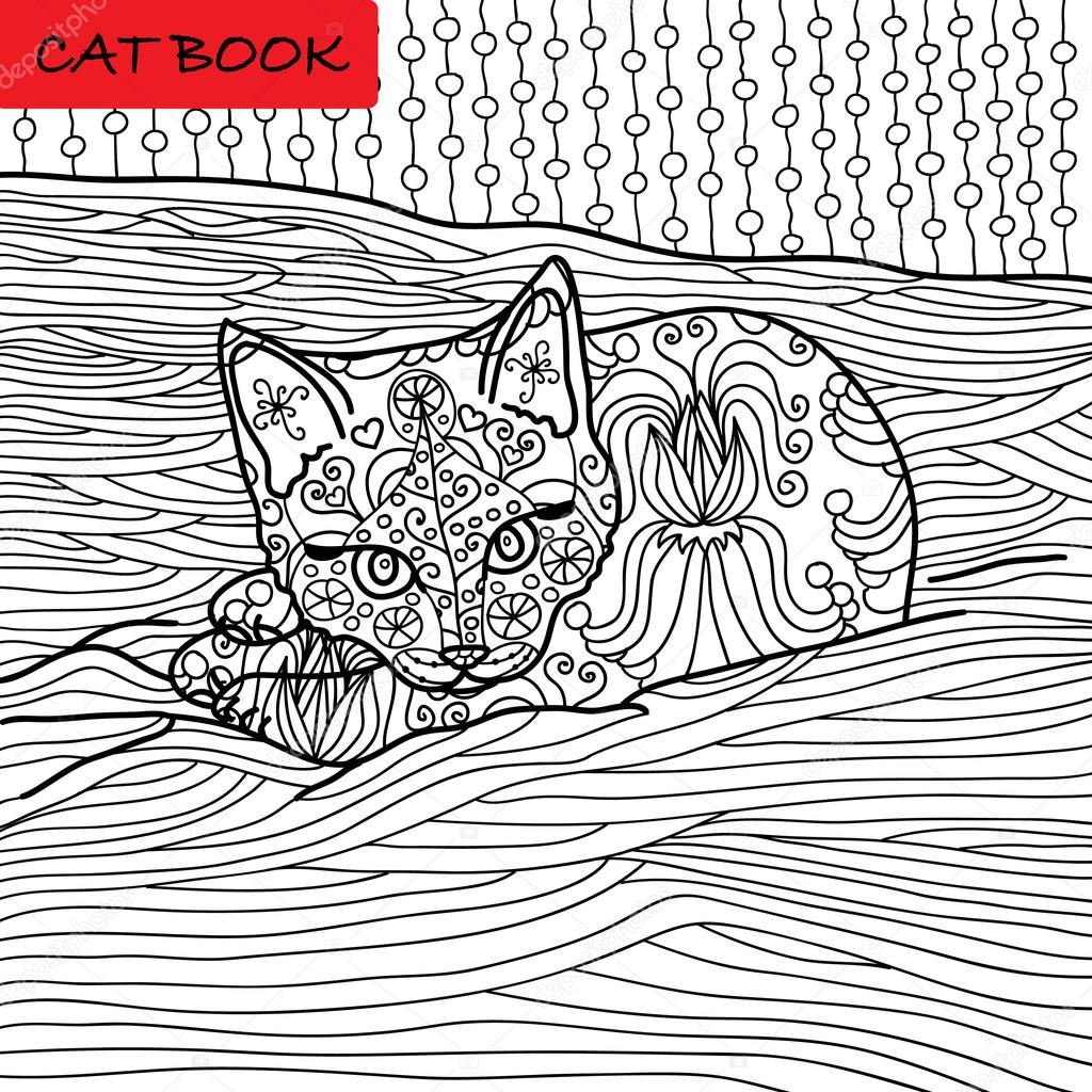 Coloriage de chat pour adultes chaton adorable b b couch sur le canap illustration dessin e - Coloriage de bebe chat ...