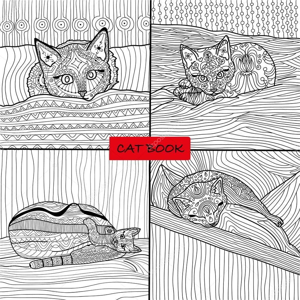kleurboek voor volwassenen 1 set vier tekeningen