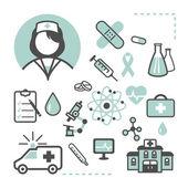 Ensemble d'icônes médicales — Vecteur