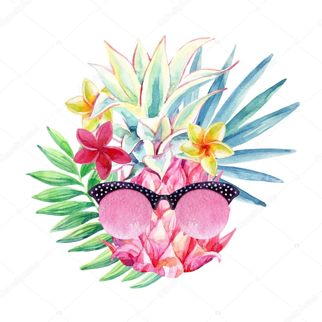 watercolor pineapple with sun glasses  fan palm leaf and sun clip art images png sun clipart images