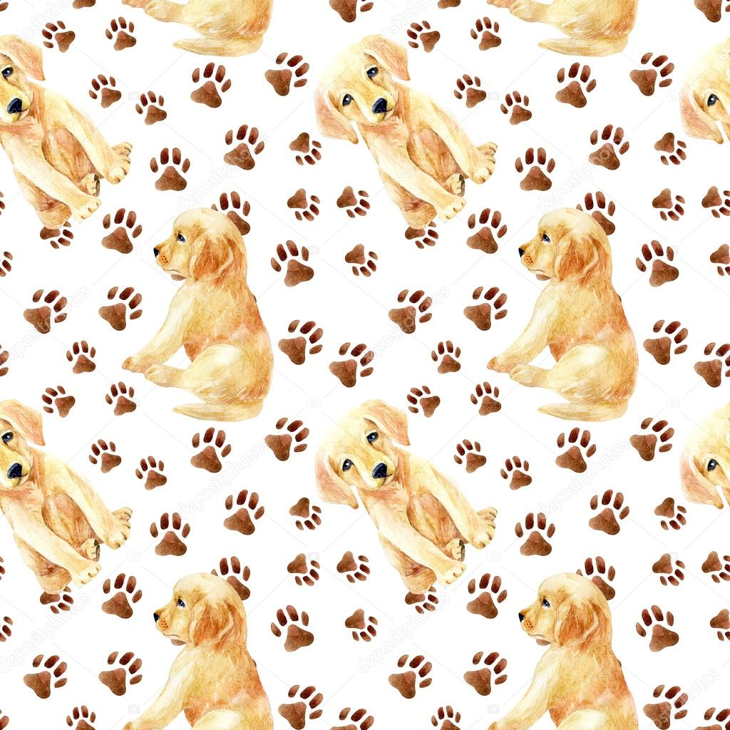 拉布拉多猎犬小狗无缝模式.可爱的小狗的脚印.