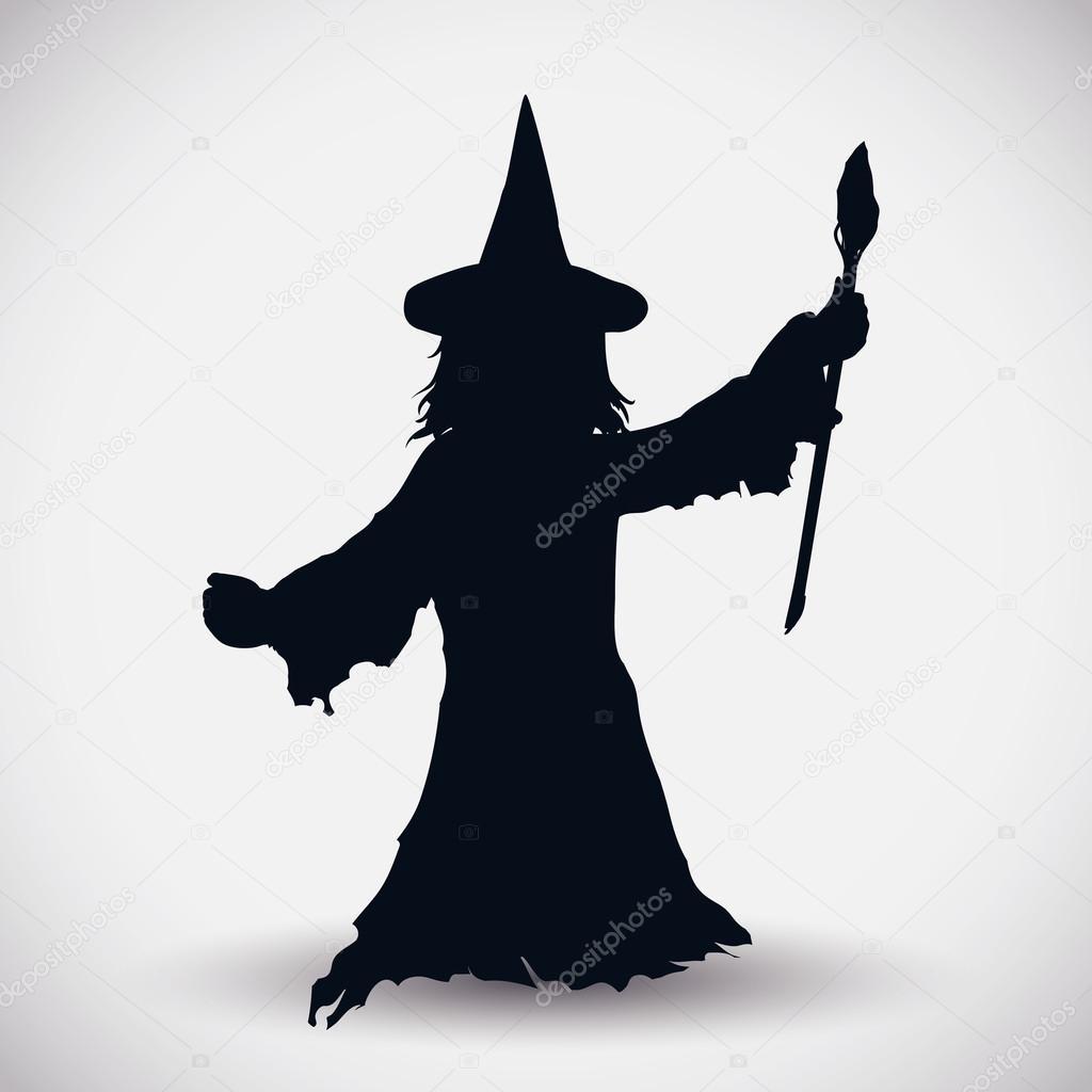 魔法の杖でウィザード シルエット ベクトル イラスト — ストックベクター © PenWin #88335878